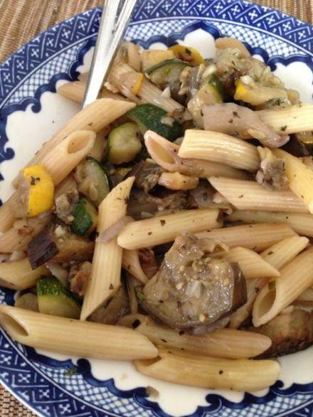 eggplant-squash pasta