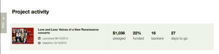 Kickstarter dashboard